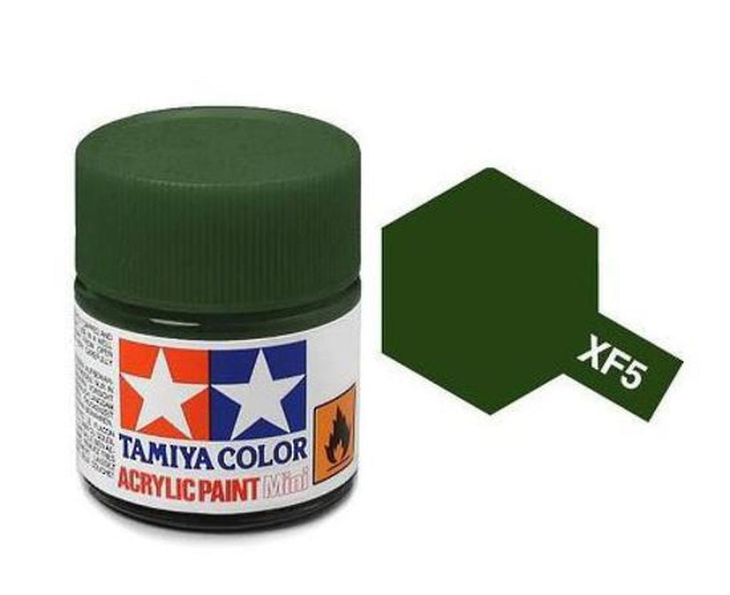 Tamiya XF-5 Flat Green Acrylic Paint Mini 10ml (1/3oz) TAM81705