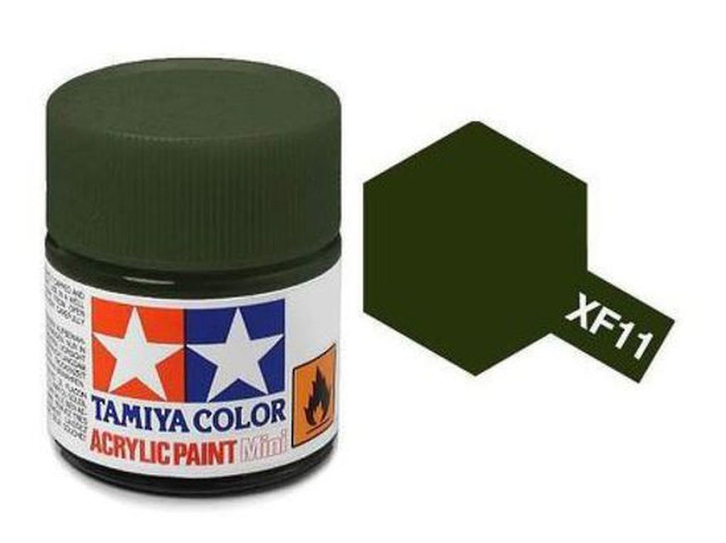Tamiya XF-11 Flat J. N. Green Acrylic Paint Mini 10ml (1/3oz) TAM81711