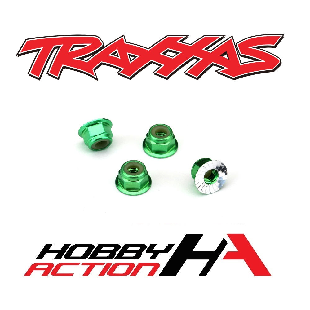 Traxxas 4mm Aluminum Flanged Serrated Nuts Green TRA1747G