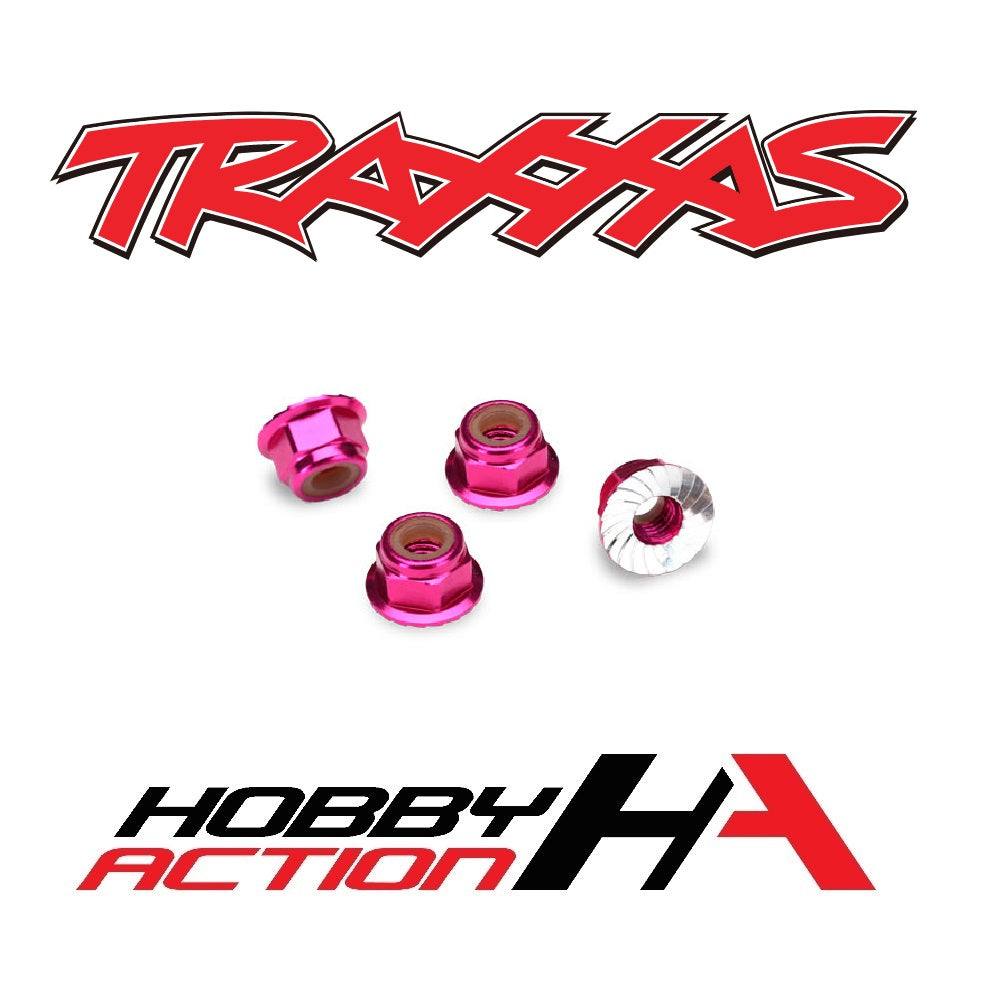 Traxxas 4mm Aluminum Flanged Serrated Nuts Pink TRA1747P