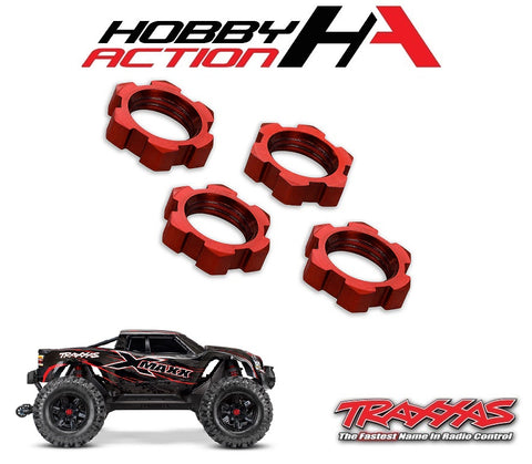 Traxxas X-Maxx 17mm Splined Wheel Nut Red (4) TRA7758R