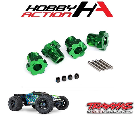 Traxxas E-Revo VXL 2.0 Wheel Hubs Splined 17mm Green Anodized TRA8654G