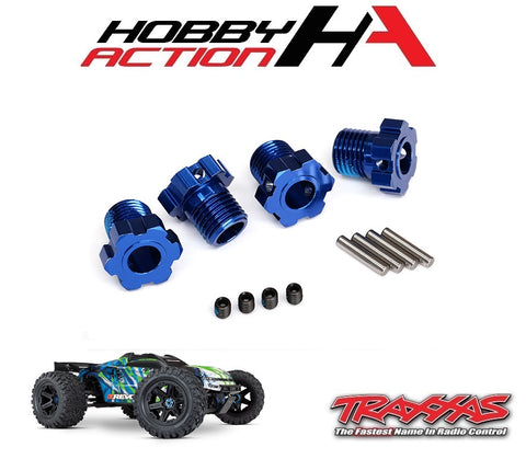 Traxxas E-Revo VXL 2.0 Wheel Hubs Splined 17mm Blue Anodized TRA8654B