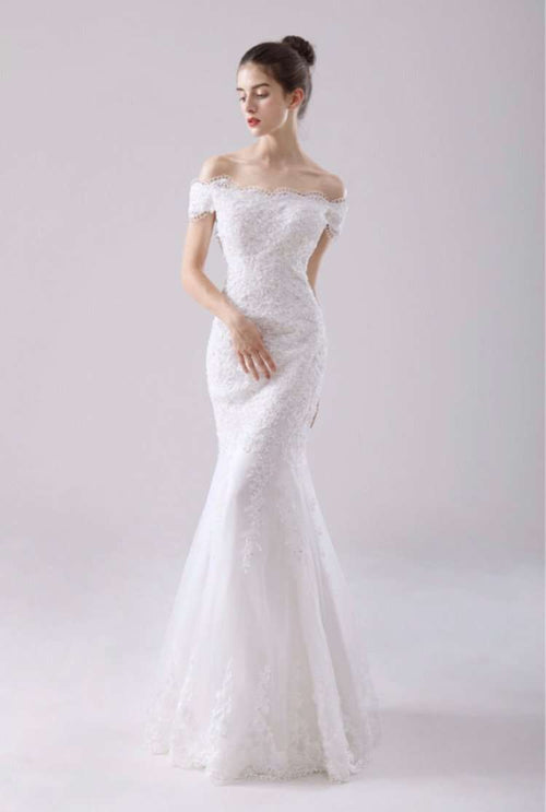 Wholesale Fishtail Slimfit Off-Shoulder Wedding Dress Plus Size Available UK
