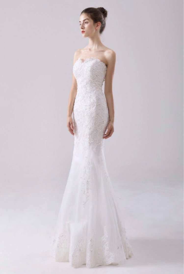 Wholesale Fishtail Slimfit Wedding Dress Plus Size Available UK