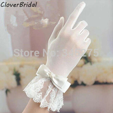 Wrist Length Short Bridal Glove Bow & Lace - Sahari Collections