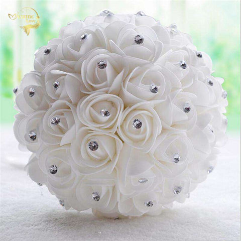 Wedding Bouquet With Diamantes and Ribbon - Ivory & White - Sahari Collections