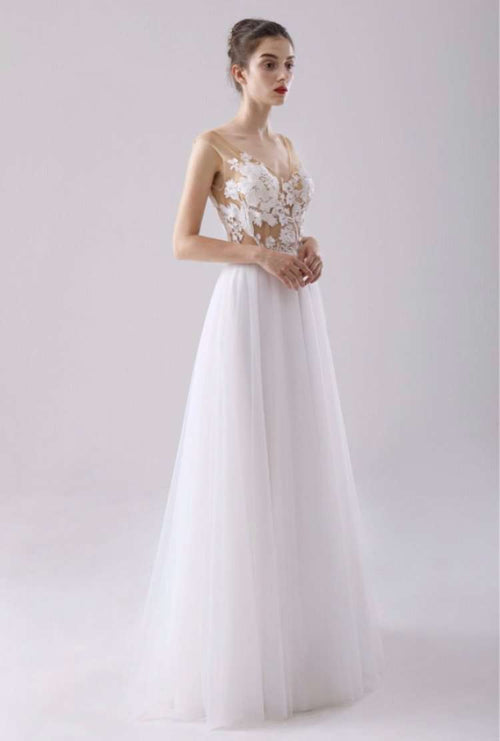 Wholesale Simple Wedding Dress With Nude Top Floral Lace UK