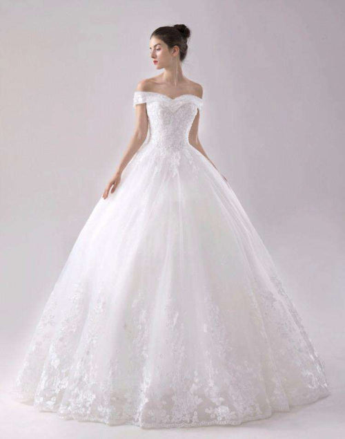 Wholesale Off-Shoulder Sweetheart Neck Puffy Princess Style Wedding Dress Plus Sizes Available UK
