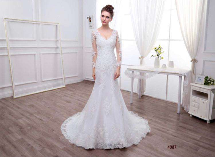 Wholesale Long Sleeve Trumpet Shape Wedding Dress plus Sizes Available UK