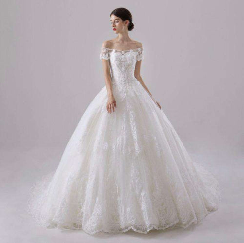 Wholesale Long Off-Shoulder Wedding Dress Puffy Princess Style UK