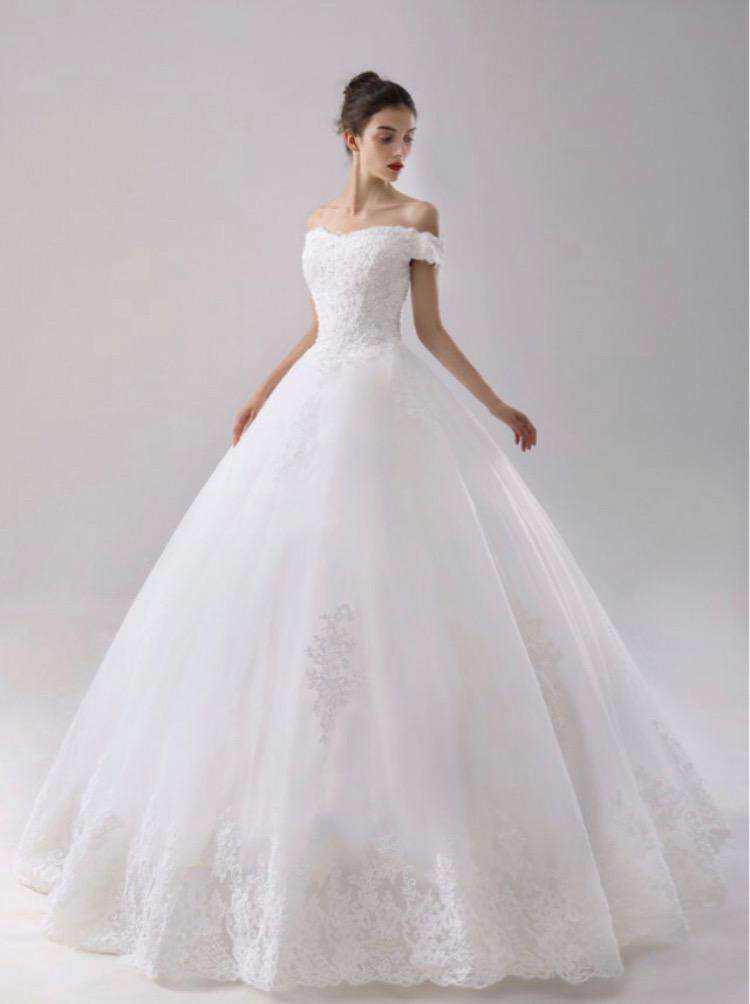 Wholesale Long Off-Shoulder Sweetheart Neck Puffy Princess Style Wedding Dress UK