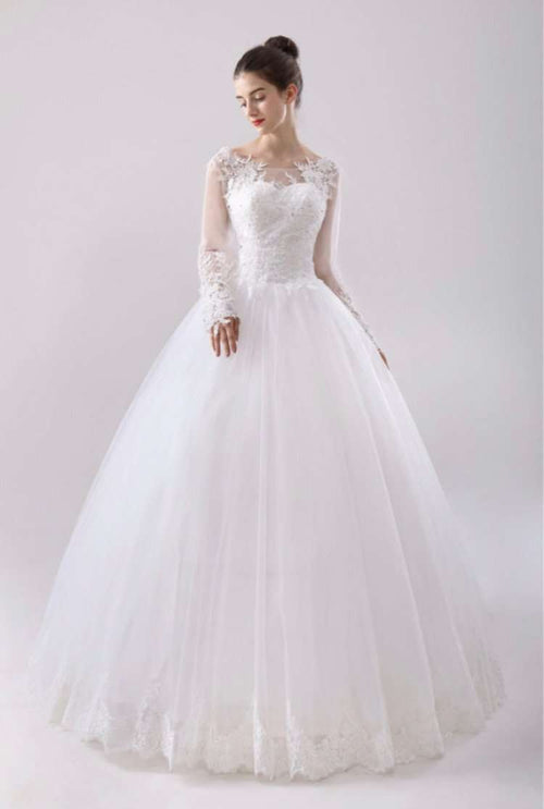 Wholesale Long Sleeve High Neck Lace Wedding Dress Puffy Princess Style Plus Sizes Available UK