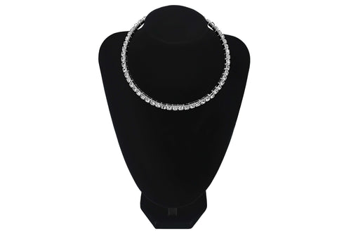 Large Diamante Single 1 Line/Row Choker Party Wedding Prom Bridesmaids Jewellery - Sahari Collections