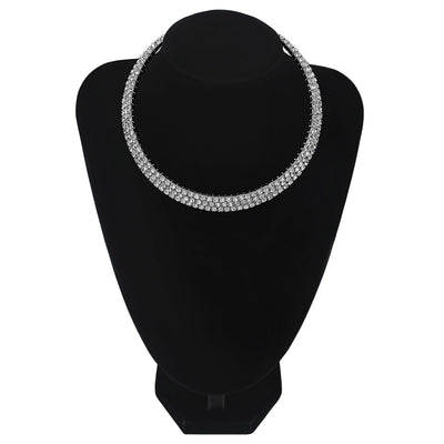 Wholesale 3 Row/Line Diamante Choker For Wedding Party Bridesmaids Jewellery UK