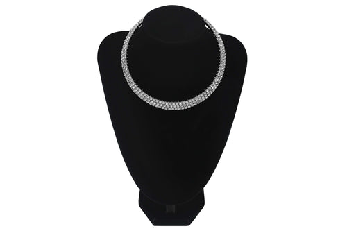3 Row/Line Diamante Choker For Wedding Party Bridesmaids Jewellery - Sahari Collections