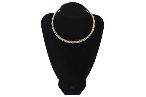 Double Row Small Diamante 2 Line Choker For Wedding Party Prom Bridesmaids Jewellery - Sahari Collections