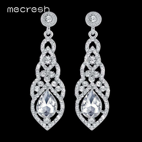 Wholesale Crystal Long Floral Classic Bridal Party Prom Earrings - Many Colours UK