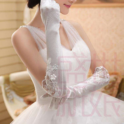 Wholesale Ivory Elbow Length Beaded Fingerless Lace Long Wedding Gloves UK