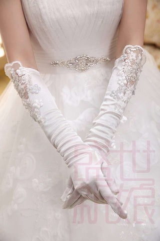 Ivory Elbow Length Beaded Fingerless Lace Long Wedding Gloves - Sahari Collections