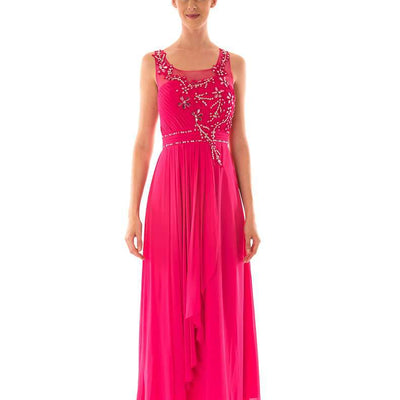 Wholesale Party Dresses Uk, Wholesale Long Wholesale Evening Dress With Diamante and Mesh Top UK
