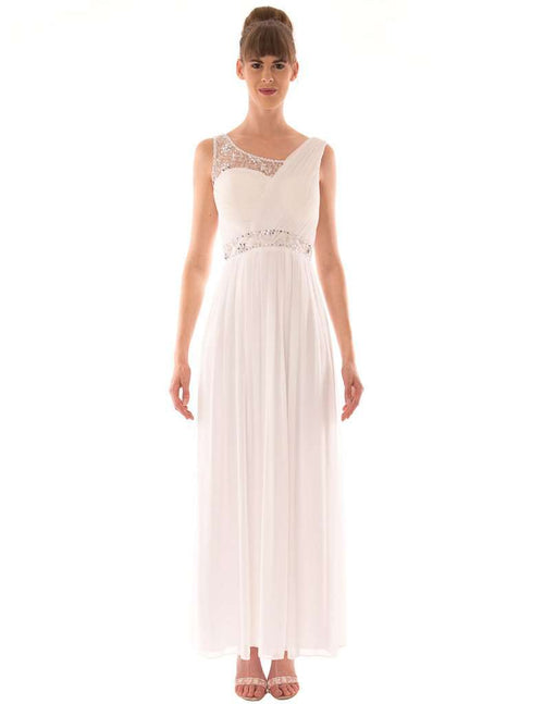 Wholesale Long Dress With Diamante On Half Shoulder UK