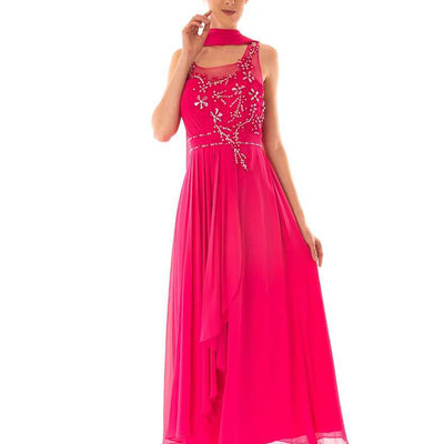 Wholesale Party Dresses, Wholesale Long Wholesale Evening Dress With Diamante and Mesh Top UK