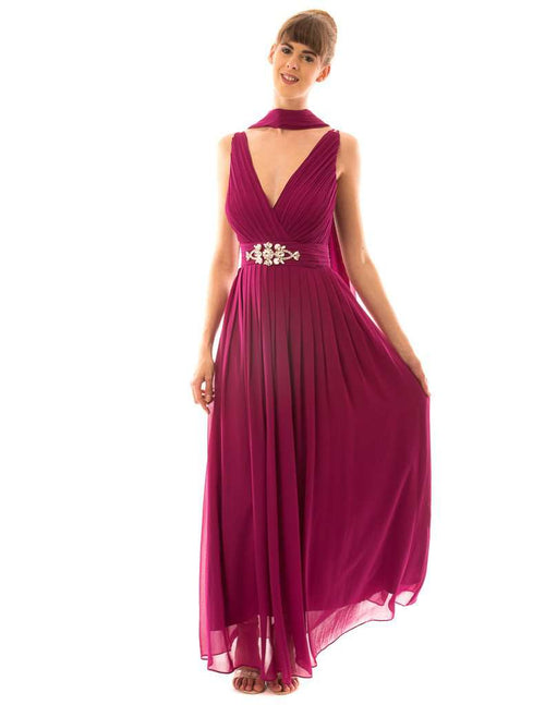 Deep V-neck Long Prom and Bridesmaid Dresses - Sahari Collections