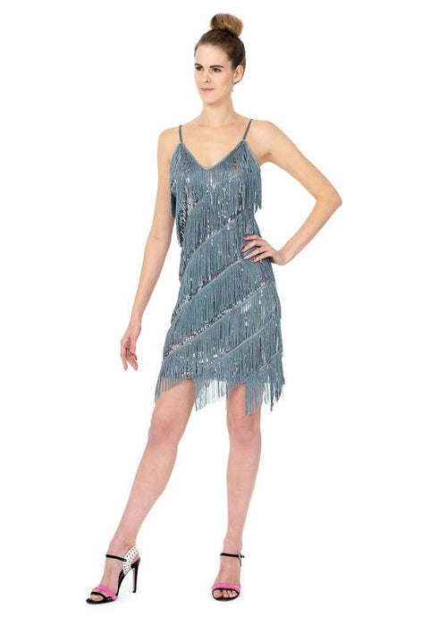 Short Dress With Sequince And Tassels - Sahari Collections