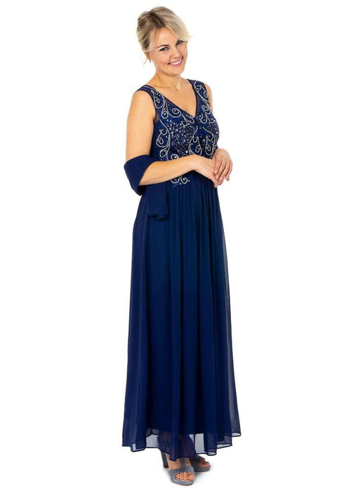 Long Wholesale Party Dresses featuring V-neckline With Busy Top Embellishment - Sahari Collections