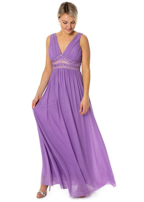 Long V Neck Elegant Bridesmaids Prom Dress - Sahari Collections