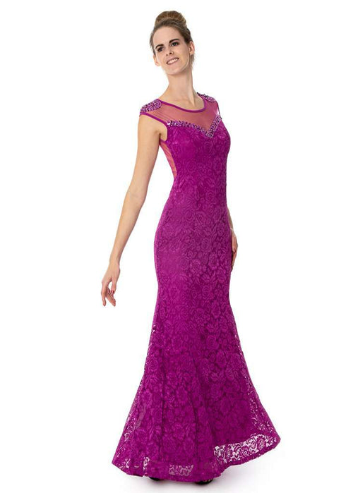 Long Lace & Diamante Wholesale Prom Bridesmaids Dress - Sahari Collections