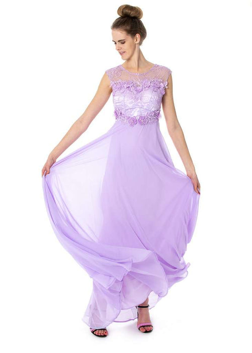 Wholesale Long Floral Dress With See-Through/Mesh Neck Line And Back Prom Bridesmaids UK