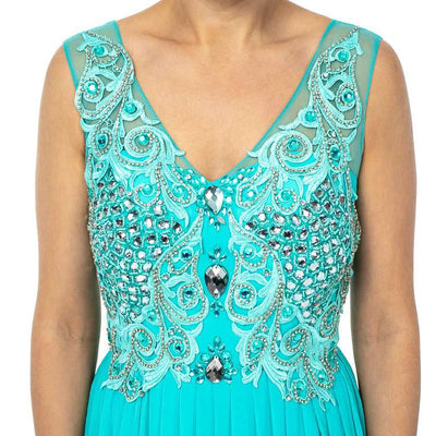 Wholesale Long Wholesale Party Dresses featuring V-neckline With Busy Top Embellishment UK