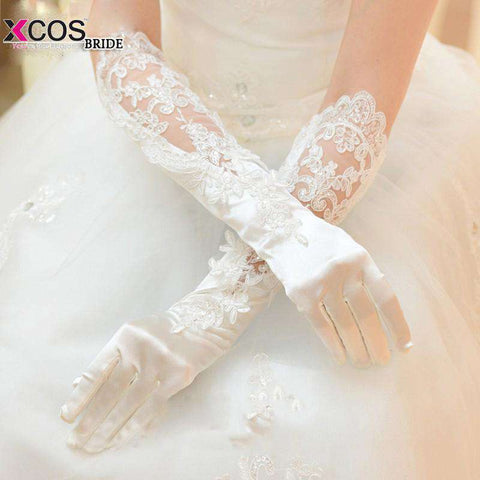 Long Lace Bridal Wedding Gloves with Fingers - Sahari Collections