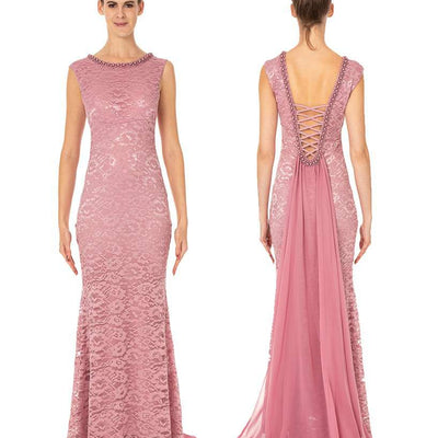 Wholesale Long Lace Dress With Beautiful Shawl Back Wholesale Prom Dress UK
