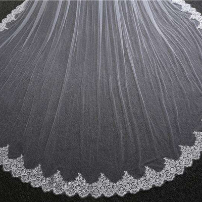 New Super Wide Bridal Veils New 2019 Two Layers 3.5 m White/Ivory Bridal Accessory Veil For Brides Lace Wedding Veil with Comb