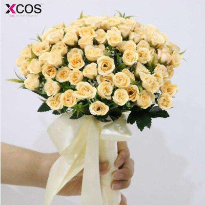 2019 Bridal Bouquet for Wedding Decoration Beige Wedding Bouquet Handmade Artificial Flower Rose