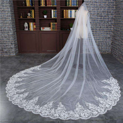3M Wedding Veil Cathedral One Layer Lace Appliquéd  Long Bridal Veils With Comb Woman Marry Gifts 2019