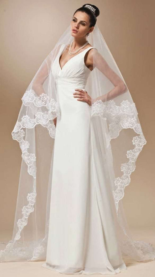 Mariage 3M One Layer Lace Edge White Ivory Catherdal Wedding Veil Long Bridal Veil Cheap Wedding Accessories Veu de Noiva