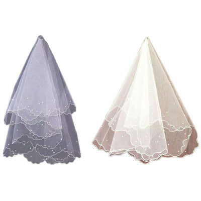 Pearl Wedding Dress Veil Layers Tulle Ribbon Edge Bridal Veils Women Accessories