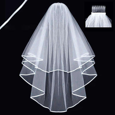 Simple and Elegent Wedding Veil Bridal Tulle Veils with Comb and Lace Ribbon Edge White (White)