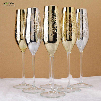 2PCS Gloss metal champagne flutes 22k gold finish Crystal for wedding/party red wine glass goblet glasses