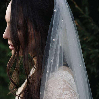 White Bridal Veils Wedding Hair Accessories Cathedral Long Veil with Comb Attached Handmade Soft Tulle One Layer