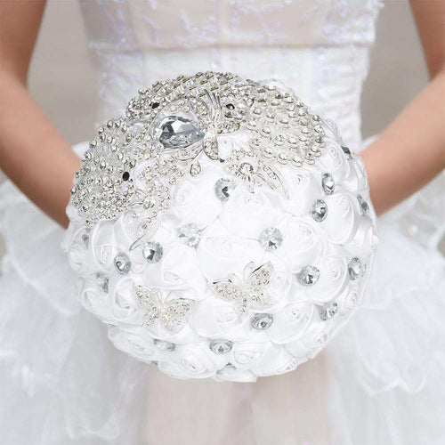 18cm Handmade Wedding Brooch Rhinestone Bridal Bouquet Satin Rose Flower for Bride Wedding