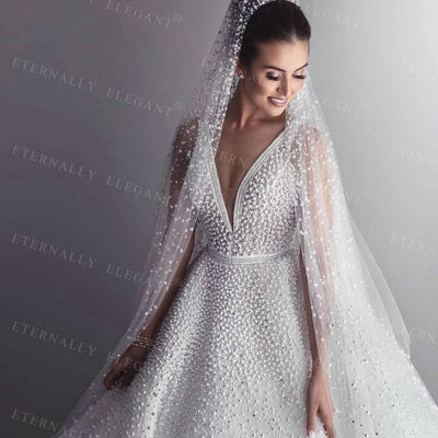 20191 Tier 3M With Comb Cathedral Royal Pearl Wedding Veil  Bridal Veil With Pearl Ivory EE705