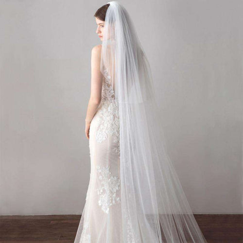 Long Veil 3 Meter Cathedral Wedding Veils Cut Edge Bridal Veil with Comb Wedding Accessories Bride Mantilla Wedding Veil
