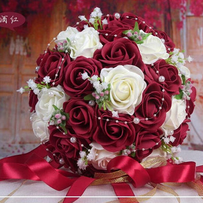 2019 Beautiful Handmade Flowers Decorative Artificial Rose Flowers Pearls Bride Bridal Lace Accents Wedding Bouquets with Ribbon