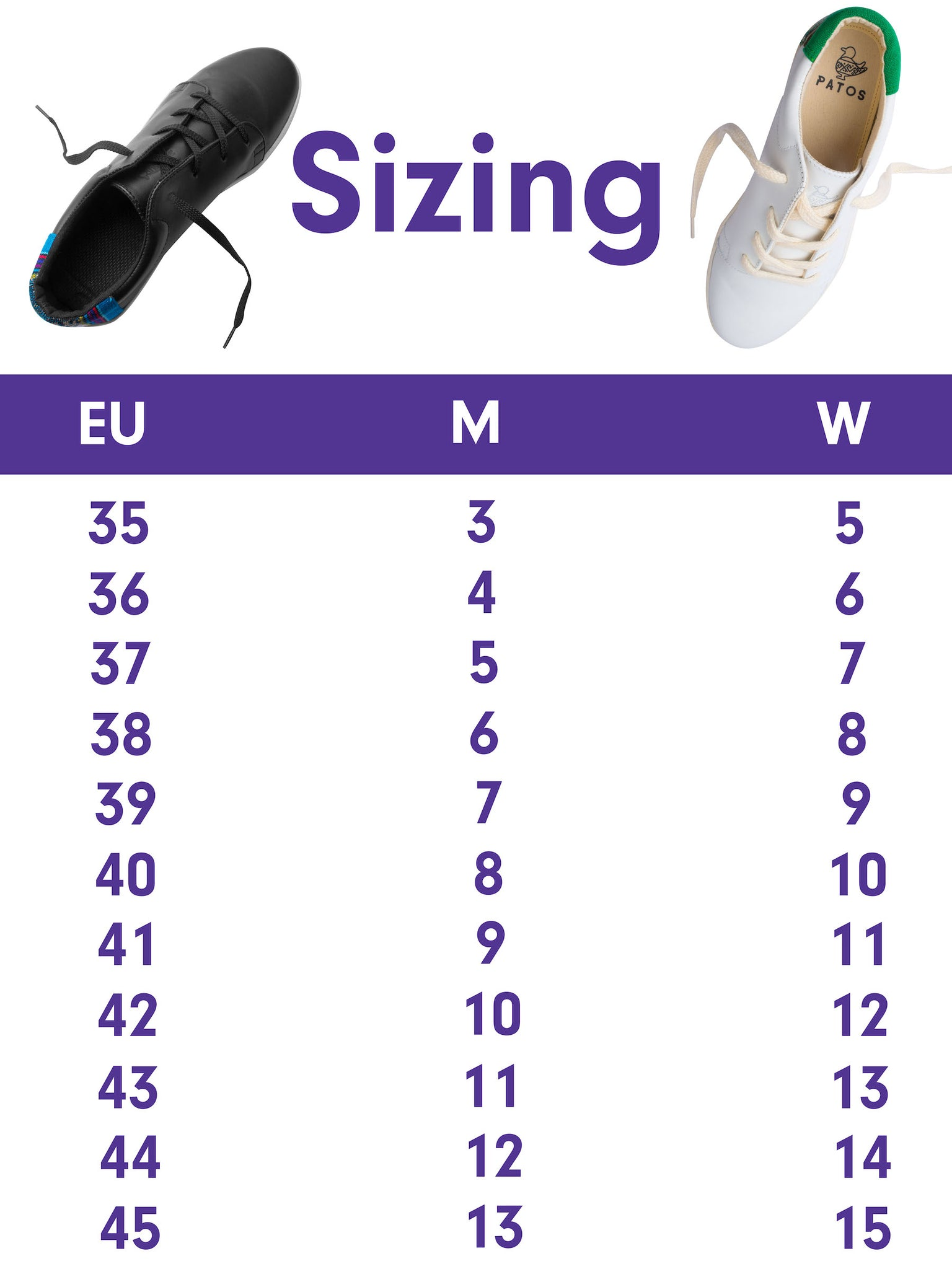 PATOS Shoes sizing chart