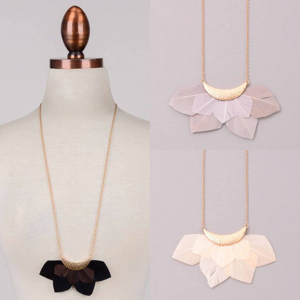Tail Feather Statement Necklace - 3 Colors